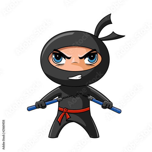 Photo  Ninja with nunchaku