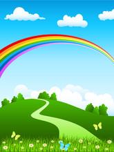 Hügellandschaft Mit Regenbogen