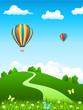 Landschaftsbild mit Heißluftballons