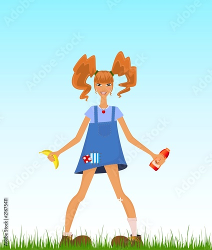 girl teenager with red hairs in style of Pippi Longstocking Fototapet