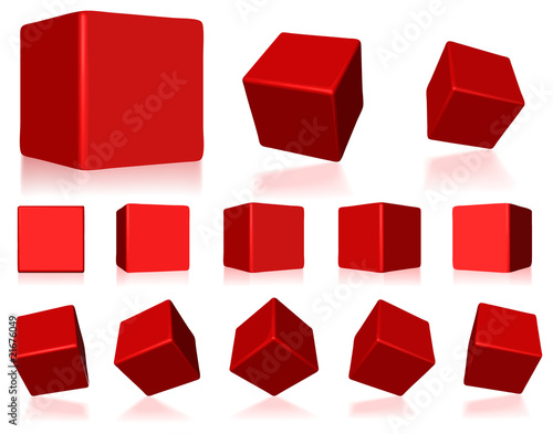 vector red 3d cubes