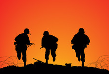 Silhouette Of Three Soldiers O...