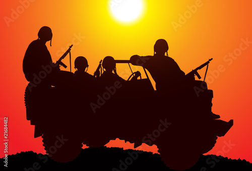 Poster Militaire Marines. Silhouette of soldiers on the vehicle