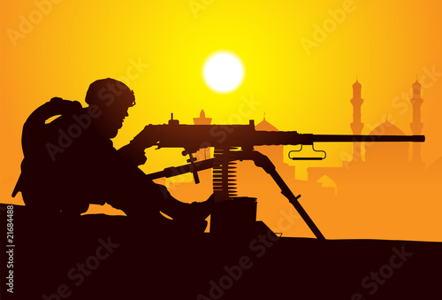 Poster Militaire Gunner. Silhouette of a soldier with a machine gun