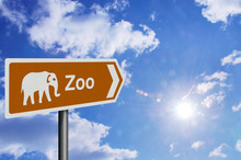Zoo Sign, Against A Bright Blu...