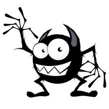Monster Cartoon Freundlich Lustig Winken