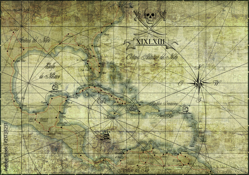 Karibik - alte Karte/Old Map @p(AS)ob