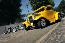 Classic Yellow Hotrod And Custom Motorbikes