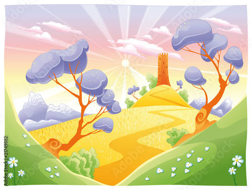 Garden Poster Castle Landscape with tower. Funny cartoon and vector illustration.