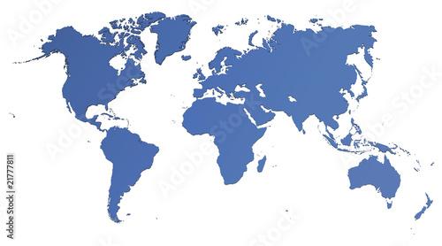 In de dag Wereldkaart Weltkarte - freigestellt
