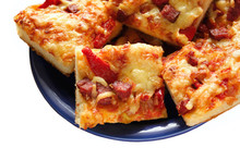 Home Pie As Pizza, With Salami, Tomato, Red Pepper And Olives