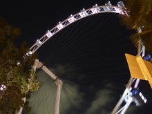View Of Singapore Flyer Against Cloudy Sky At Night