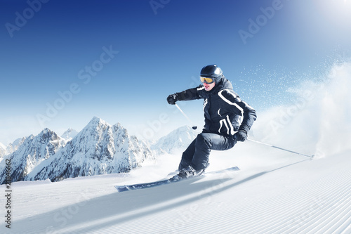 Canvas Prints Winter sports Skier in high mountains - alpen