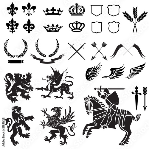Photo  Heraldry Ornament Set Black and White
