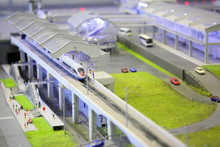 Model Of Railroad Station. Railroad, Train, Buildings And Other