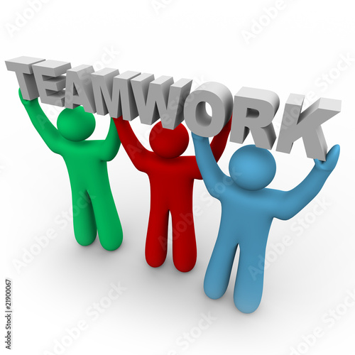 Fotografie, Obraz  Teamwork - Three People Hold the Word