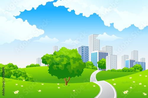 Keuken foto achterwand Vliegtuigen, ballon Green landscape with city