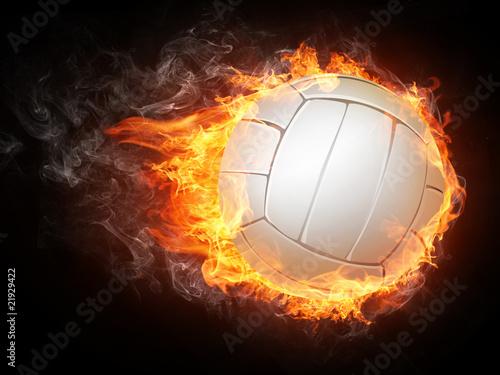 Volleyball Ball on Fire Wallpaper Mural