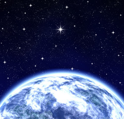 whole world wishing on star in space