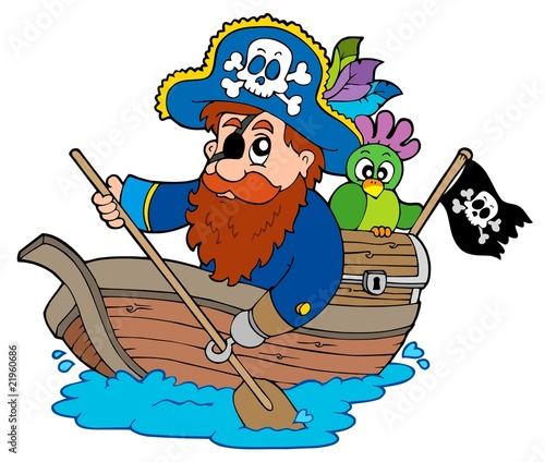 Poster Pirates Pirate with parrot paddling in boat