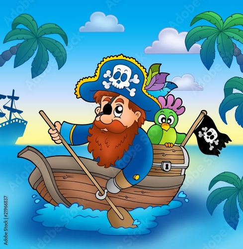 Plissee mit Motiv - Cartoon pirate paddling in boat (von Klara Viskova)