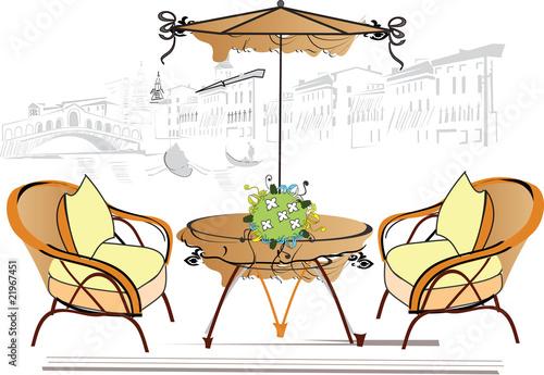 Foto auf AluDibond Gezeichnet Straßenkaffee open-air cafe