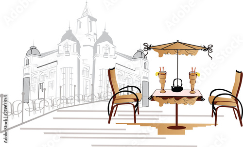 Photo sur Toile Drawn Street cafe open-air cafe