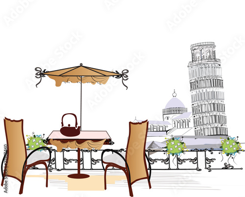 Tuinposter Drawn Street cafe open-air cafe in Pisa