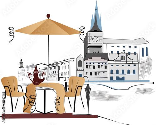 Foto auf AluDibond Gezeichnet Straßenkaffee Cafe in the city
