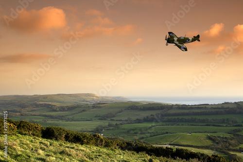 Spitfire above Devon Canvas Print