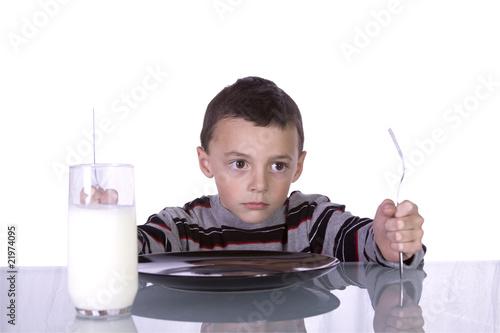 Little Boy Waiting For Dinner