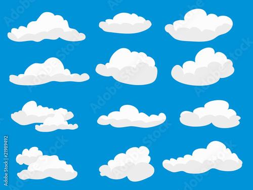 Papiers peints Ciel Set of white fluffy clouds