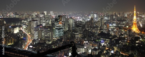 Tuinposter Tokyo Illuminated Tokyo City in Japan at night from high above