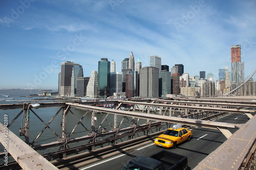 Fototapeta miasto brooklyn-bridge-taxi-nowy-jork