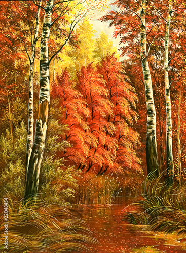 Autumn wood landscape with birches - 22048454