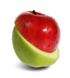 Slit red and green apple