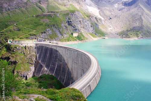 Concrete dam wall of Kaprun power plant, Salzburg Alps, Austria Poster Mural XXL