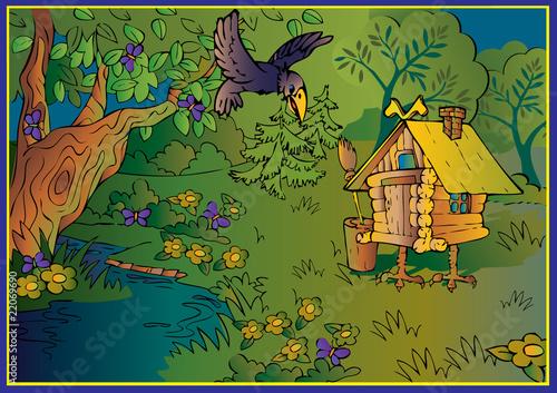 Staande foto Kasteel Hut on chicken legs in woods. Fairy-tale.