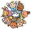 Happy children of different races