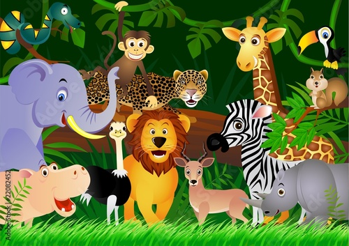 Ingelijste posters Zoo Wild animal cartoon