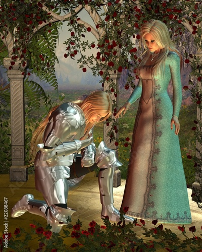 Ingelijste posters Ridders Sir Launcelot and Queen Guinevere