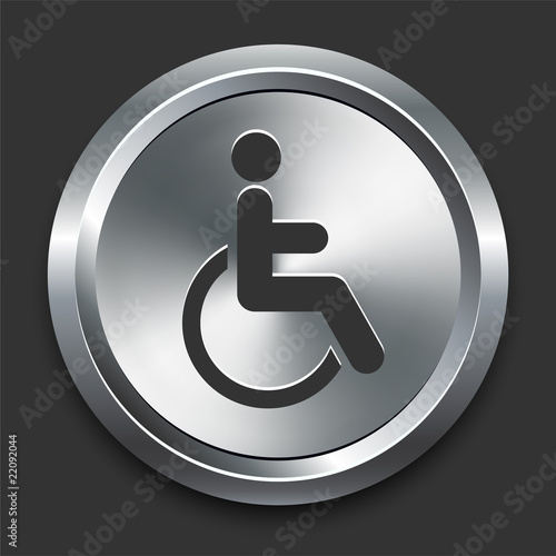 Valokuva  Handicapped Icon on Metal Internet Button