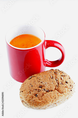 Cup of Tomato Soup with Brown Roll Poster
