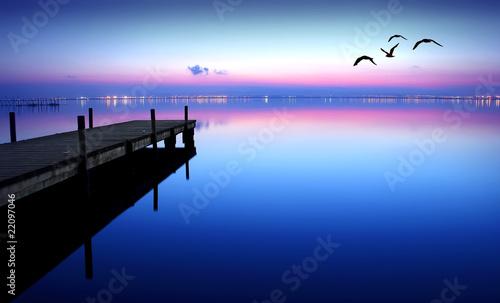 Poster Pier embarcadero en el lago