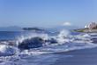 Beach and waves, Mt Fuji and Enoshima Island.