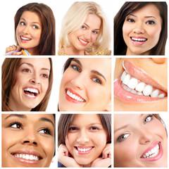 Panel Szklany Podświetlane Do dentysty happy woman faces