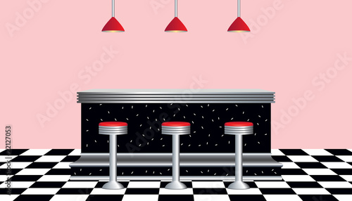 Retro Diner 1950's Wallpaper Mural