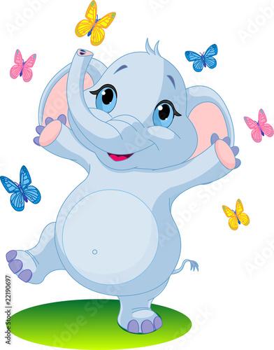 Poster de jardin Zoo Baby elephant dancing with butterflies