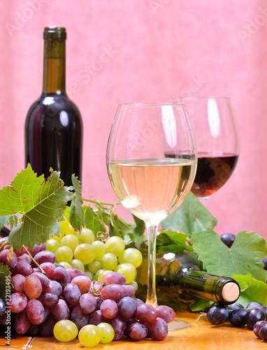 Fototapety, obrazy: Wine glass with bottle of wine.