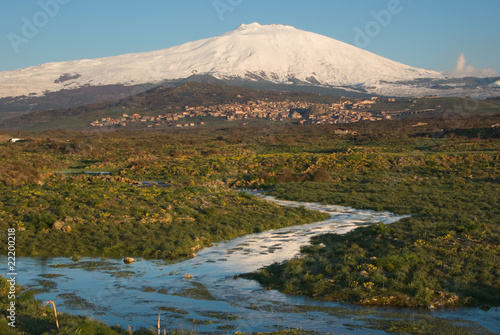 Vászonkép  Stream And Snowcovered Mount Etna